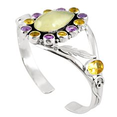 925 silver natural libyan desert glass (gold tektite) adjustable bangle m44734