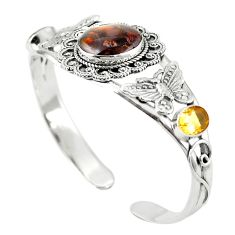 Natural multi color mexican fire agate 925 silver adjustable bangle m44735
