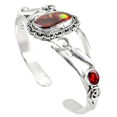 Natural multi color mexican fire agate 925 silver adjustable bangle m44739