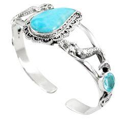 Natural blue larimar topaz 925 sterling silver adjustable bangle m44743