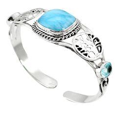 Natural blue larimar topaz 925 sterling silver adjustable bangle m44746