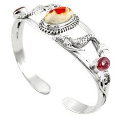 Natural multi color mexican fire opal 925 silver adjustable bangle m44752