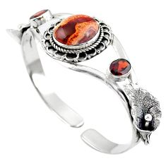 Natural multi color mexican fire opal 925 silver adjustable bangle m44756