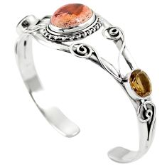 Natural multi color mexican fire opal 925 silver adjustable bangle m44757