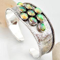 18.61cts natural multi color ethiopian opal 925 silver adjustable bangle r12282
