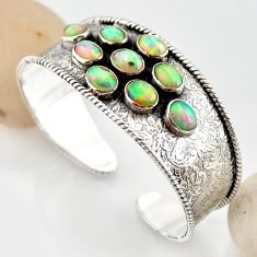 19.22cts natural multi color ethiopian opal 925 silver adjustable bangle r12286