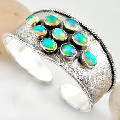 19.58cts natural multi color ethiopian opal 925 silver adjustable bangle r12288