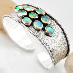 19.86cts natural multi color ethiopian opal 925 silver adjustable bangle r12290