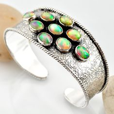 18.95cts natural multi color ethiopian opal 925 silver adjustable bangle r12291