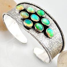 18.78cts natural multi color ethiopian opal 925 silver adjustable bangle r12292