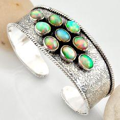 19.11cts natural multi color ethiopian opal 925 silver adjustable bangle r12293