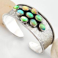 19.41cts natural multi color ethiopian opal 925 silver adjustable bangle r12295