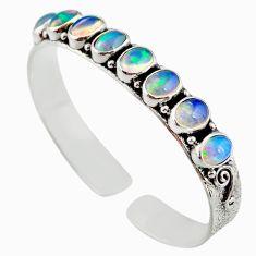 17.90cts natural multi color ethiopian opal 925 silver adjustable bangle r12302