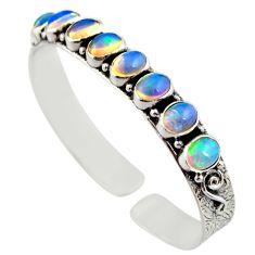 925 silver 17.74cts natural multi color ethiopian opal adjustable bangle r12307