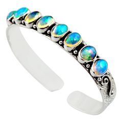 17.74cts natural multi color ethiopian opal 925 silver adjustable bangle r12312
