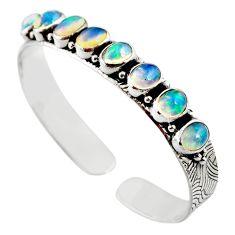 17.27cts natural multi color ethiopian opal 925 silver adjustable bangle r12315