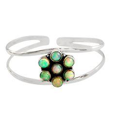 9.18cts natural multi color ethiopian opal 925 silver adjustable bangle r12322