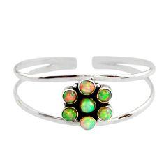 9.36cts natural multi color ethiopian opal 925 silver adjustable bangle r12323