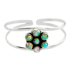9.49cts natural multi color ethiopian opal 925 silver adjustable bangle r12326