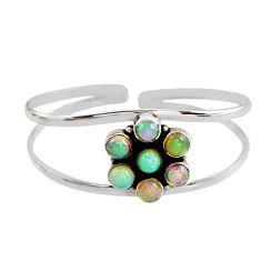 9.61cts natural multi color ethiopian opal 925 silver adjustable bangle r12327