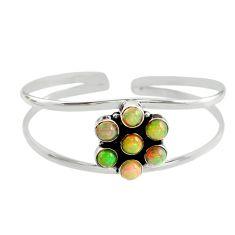 9.61cts natural multi color ethiopian opal 925 silver adjustable bangle r12328
