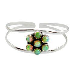 9.29cts natural multi color ethiopian opal 925 silver adjustable bangle r12329
