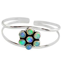 9.49cts natural multi color ethiopian opal 925 silver adjustable bangle r12330