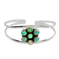 9.37cts natural multi color ethiopian opal 925 silver adjustable bangle r12331