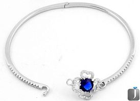 5.29cts BLUE SAPPHIRE QUARTZ TOPAZ 925 STERLING SILVER BANGLE JEWELRY F13234