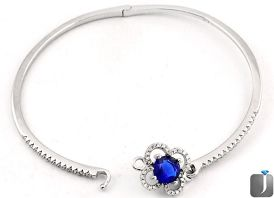 5.22cts BLUE SAPPHIRE QUARTZ TOPAZ 925 STERLING SILVER BANGLE JEWELRY F13237