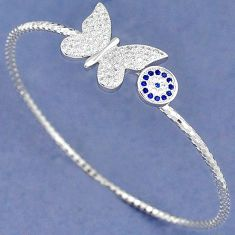 BLUE SAPPHIRE QUARTZ WHITE TOPAZ 925 SILVER BUTTERFLY CHARM BANGLE H30885