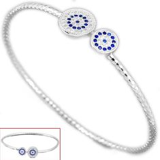 Blue sapphire quartz white topaz 925 sterling silver bangle jewelry h47973
