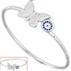 Blue sapphire quartz white topaz 925 sterling silver butterfly bangle h47965