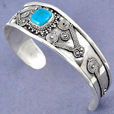 BLUE SLEEPING BEAUTY TURQUOISE 925 STERLING SILVER ADJUSTABLE BANGLE H23318