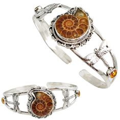 Brown ammonite fossil citrine 925 silver dragonfly adjustable bangle h89235