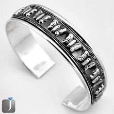 26.02gms BUTTERFLY CHARM 925 STERLING SILVER CUFF BANGLE JEWELRY G36848