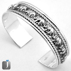 24.52gms ELEPHANT CHARM 925 STERLING SILVER CUFF BANGLE JEWELRY G36844