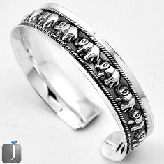 25.33gms ELEPHANT CHARM 925 STERLING SILVER CUFF BANGLE JEWELRY G36847