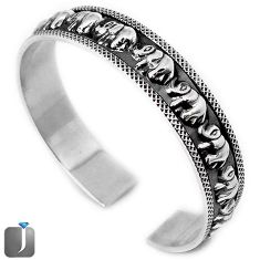 25.78gms ELEPHANT CHARM 925 STERLING SILVER CUFF BANGLE JEWELRY G36855