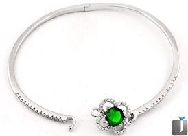 5.48cts FINE GREEN CHROME DIOPSIDE TOPAZ 925 STERLING SILVER BANGLE F9230