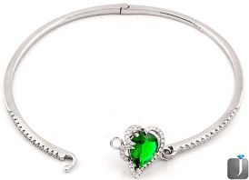 6.86cts FINE GREEN CHROME DIOPSIDE TOPAZ 925 STERLING SILVER BANGLE F9233