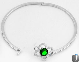 6.02cts FINE GREEN CHROME DIOPSIDE TOPAZ 925 STERLING SILVER BANGLE F9236