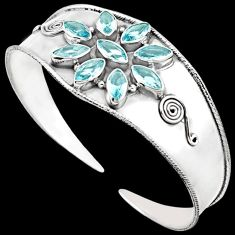 GORGEOUS BLUE TOPAZ MARQUISE 925 STERLING SILVER FLOWER CUFF BANGLE H44716