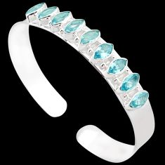 GORGEOUS NATURAL BLUE TOPAZ 925 STERLING SILVER CUFF BANGLE JEWELRY H42396
