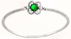 5.05cts GREEN CHROME DIOPSIDE QUARTZ TOPAZ 925 STERLING SILVER BANGLE JEWELF1234