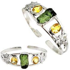 Green moldavite (genuine czech) 925 silver angel wings adjustable bangle h89247