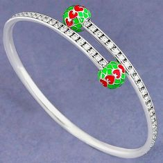 GREEN RED ENAMEL WHITE TOPAZ 925 SILVER ADJUSTABLE BANGLE JEWELRY H30898