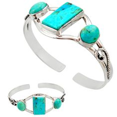 925 silver 24.16cts green arizona mohave turquoise adjustable bangle r27580