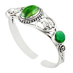 925 silver 19.22cts natural green chrome diopside adjustable bangle d47231