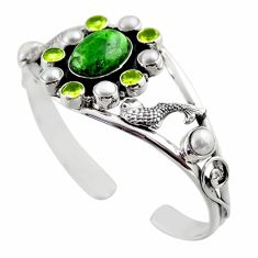 925 silver 21.52cts natural green chrome diopside adjustable bangle r30749